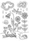 Radura della foresta nello stile di scarabocchio illustrazione vettoriale