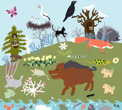 Radura di estate nella foresta con le bestie selvagge e un fiume Vettore grafico primitivo di stile Immagini Stock Libere da Diritti