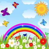 Radura floreale, farfalle ed arcobaleno luminoso illustrazione vettoriale