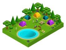 Radura isometrica per il campeggio, giovani sulla vacanza, bbq, kebab, fuoco, lago, passeggiata scandinava della foresta, da pesc royalty illustrazione gratis
