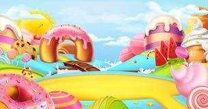 Radura in una terra della caramella Paesaggio dolce, panorama di vettore royalty illustrazione gratis