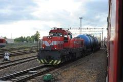 RADVILISKIS, LITAUEN - 26. JUNI 2011: Litauen-Bahnnetz und -bahnen Stockbild