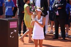 Radwanska gana 2012 WTA Bruselas abierta Foto de archivo libre de regalías