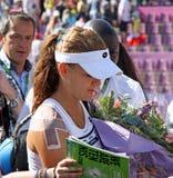 Radwanska gewinnt 2012 WTA geöffnetes Brüssel Stockfotografie
