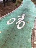 Radwegzeichen auf einer grünen Straße Stockfoto