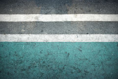 Radwegzeichen gemalt auf einer Straße Stockfoto