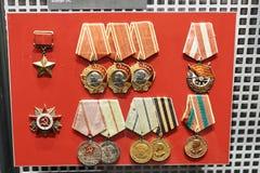 Radzieccy drugiej wojny światowa nagrody medale fotografia royalty free
