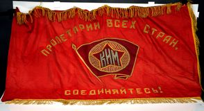 Radziecka komunista flaga haftująca ręką spanish cywilna wojna zdjęcie royalty free