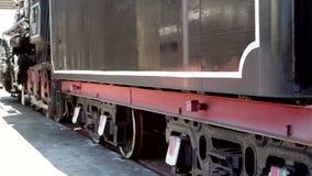 Radziecka parowa lokomotywa na platformie stacja kolejowa zbiory