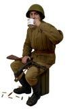 Radziecki żołnierza napój herbata Obrazy Royalty Free
