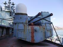 Radziecki lekki krążownik Mikhail Kutuzov w Tsemess zatoce w Novorossiysk, Rosja Zdjęcia Stock