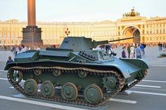 Radziecki mały ziemnowodny zbiornik T-38 w tle Alexa Obraz Stock