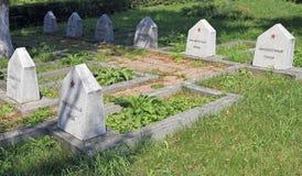 Radziecki Militarny cmentarz z stonegraves niewiadomi bohaterzy w Sighisoara Zdjęcie Royalty Free