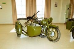Radziecki militarny motocyklu eksponat przy militarnej historii muzeum, Yekaterinburg, Verkhnyaya Pyshma, Rosja, 09 05 2016 rok Fotografia Royalty Free