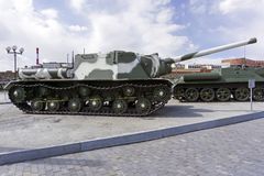 Radziecki samojezdny pistolet SU-152 w muzeum militarny wyposażenie Obrazy Royalty Free