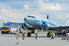 Radziecki samolot Lisunov Li-2, Węgierska linia lotnicza Malev Obrazy Stock