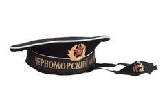 Radzieckiej marynarki wojennej peakless nakrętka odizolowywająca na białym tle. Etykietka - Czarna Denna flota. Fotografia Stock