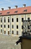 Radziwills `城堡的庭院的看法在涅斯维日 库存照片