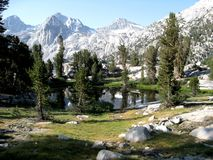 Rae Lakes. Are in the Sierra Nevada Mountains of California. This is a popular camping spot on the John Muir Trail just north of Glen Pass Stock Photos