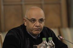 Raed Arafat, secretário de estado no ministério da conferência de imprensa dos assuntos internos imagens de stock royalty free