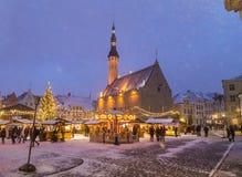 Raekoja flicht, alte Stadt Hall Square in Tallinn Stockfoto