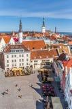 Raekoja plats kwadrat w centrum stary Tallinn zdjęcia royalty free