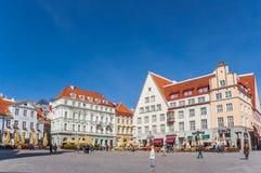Raekoja plats kwadrat w centrum stary Tallinn obrazy stock