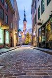Raekoja plats, Stary urzędu miasta kwadrat w Tallinn Fotografia Stock