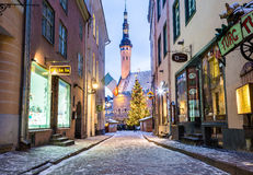 Raekoja plats, Stary urzędu miasta kwadrat w Tallinn w ranku du Zdjęcia Stock
