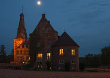 Raesfeld castle by night Royalty Free Stock Images