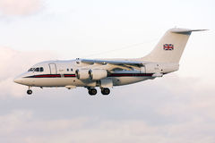 RAF BAe-146 on finals runway 31 Royalty Free Stock Images