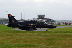 RAF BAE Hawk T1 trainer taxing for takoff Stock Photos