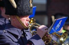 RAF Bandsman playing cornet Stock Image