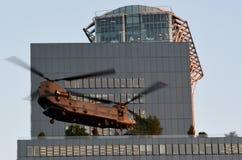 RAF Chinook HC4 fly over London, UK Stock Photos