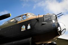 RAF east Kirkby Lancaster bomber. A Lancaster bomber that has been fully restored at RAF East Kirkby in England going on an initial taxi stock photo