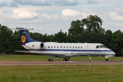 Belgian Air Component Belgian Air Force Embraer ERJ-135LR Legacy 600 VIP jet aircraft CE-02. RAF Fairford, Gloucestershire, UK - July 14, 2014: Belgian Air royalty free stock photography