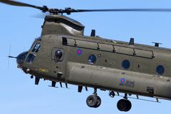 Royal Air Force RAF Boeing Chinook HC.2 twin engined heavy lift military helicopter ZA714. RAF Fairford, Gloucestershire, UK - July 12, 2014: Royal Air Force royalty free stock images