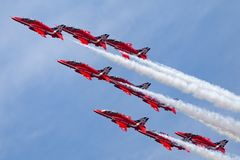 Royal Air Force RAF Red Arrows formation aerobatic display team flying British Aerospace Hawk T.1 Jet trainer aircraft. Stock Photography