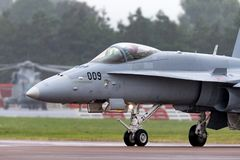 Swiss Air Force McDonnell Douglas F/A-18C Hornet Fighter aircraft J-5009. RAF Fairford, Gloucestershire, UK - July 13, 2014: Swiss Air Force McDonnell Douglas F stock photos