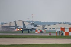 RAF Lakenheath φ-15 αεριωθούμενο αεροπλάνο USAF Στοκ Φωτογραφίες