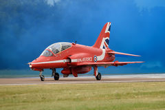 RAF Red Arrow Hawk. Hawk of the Red Arrows display team prepares to take-off at the Royal International Air Tattoo on 15 July 2017 royalty free stock image