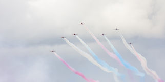 RAF Red Arrows aerobatic show in Tallinn, Estonia Royalty Free Stock Photos