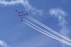 RAF Red Arrows in BAE Hawk-T1-Trainern Stockfotos