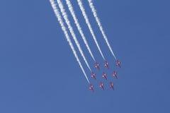 RAF Red Arrows in BAE Hawk-T1-Trainern Stockfoto