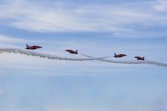 RAF Red Arrows in BAE Hawk-T1-Trainern Lizenzfreies Stockbild