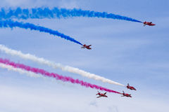 RAF Red Arrows in BAE Hawk-T1-Trainern Lizenzfreies Stockfoto