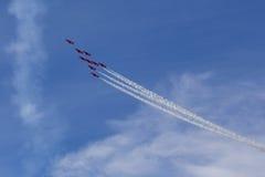 RAF Red Arrows in BAE Hawk-T1 trainers Stock Foto