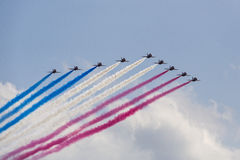 RAF Red Arrows in BAE Hawk T1 trainers Royalty Free Stock Photography