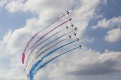 RAF Red Arrows in BAE Hawk T1 trainers Stock Photo
