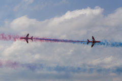 RAF Red Arrows in BAE Hawk T1 trainers Stock Image